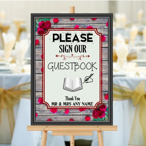 Personalised Wedding Please sign our Guest book Sign Poster Banner N181
